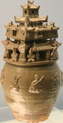 Celadon jar with watchtower and figures