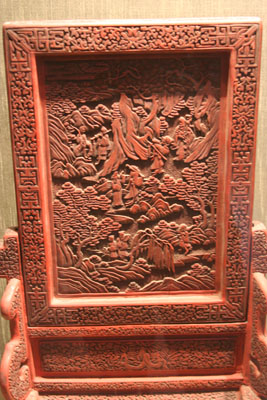 Carved lacquerware screen