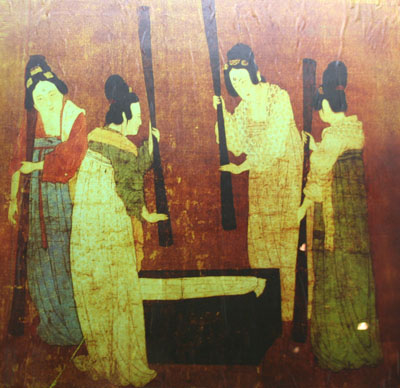 One of the pictures on silk pounding